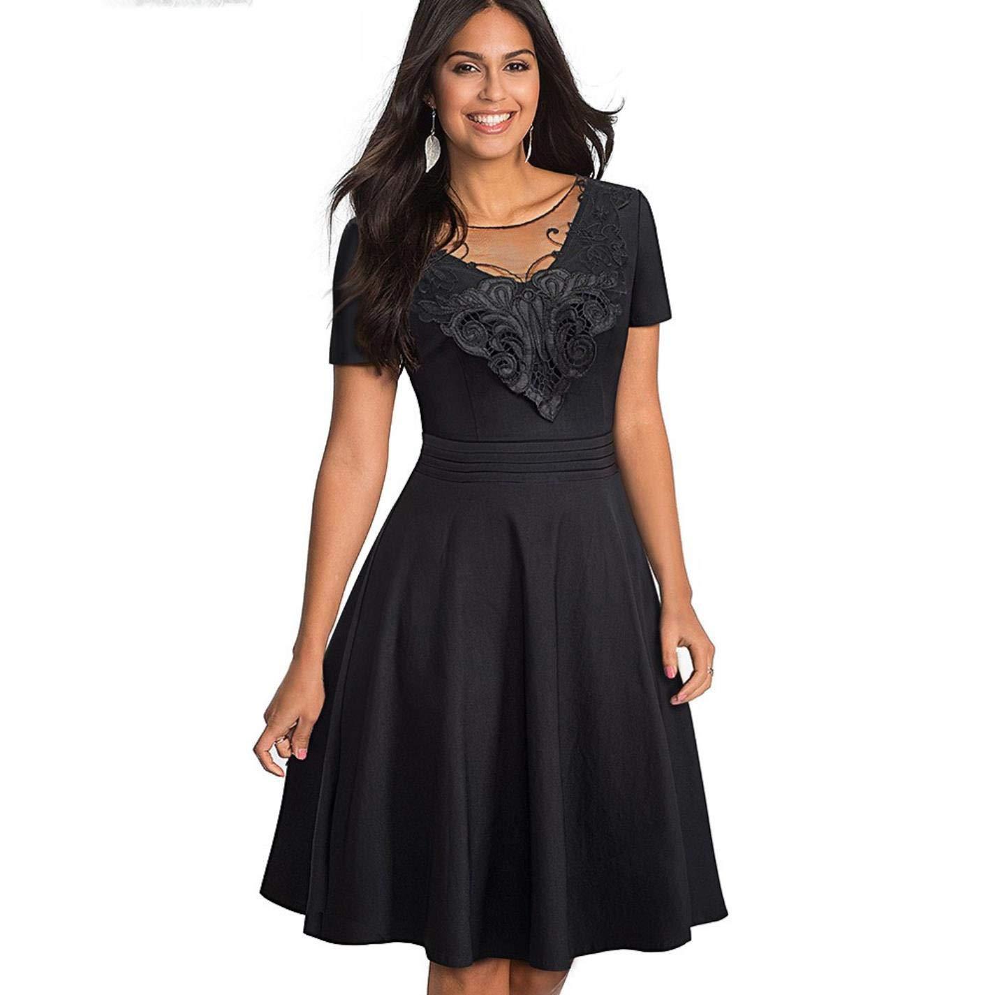 Vintage Elegant Embroidery Mesh Patchwork A-Line Flare Dress