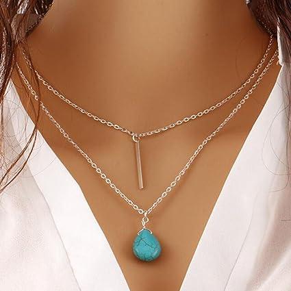 e05ed01e0816 Jovono Bohemia Collar multicapa Boho Joyería Collares de Capa con Turquesa  Colgante Cadena para Mujer