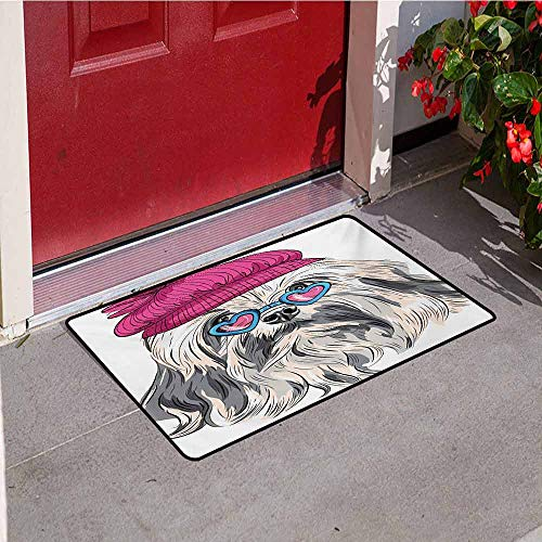 (Jinguizi Indie Welcome Door mat Lion Bichon Lowchen Breed Cute Dog with Heart Shaped Glasses and French Hat Print Door mat is odorless and Durable W19.7 x L31.5 Inch Grey Pink Blue)