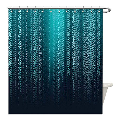 Matrix Theme Costume (Liguo88 Custom Waterproof Bathroom Shower Curtain Polyester Digital Web Computer Programmer Futuristic Matrix Display with Algorithms Code Image Petrol Blue Aqua Decorative bathroom)