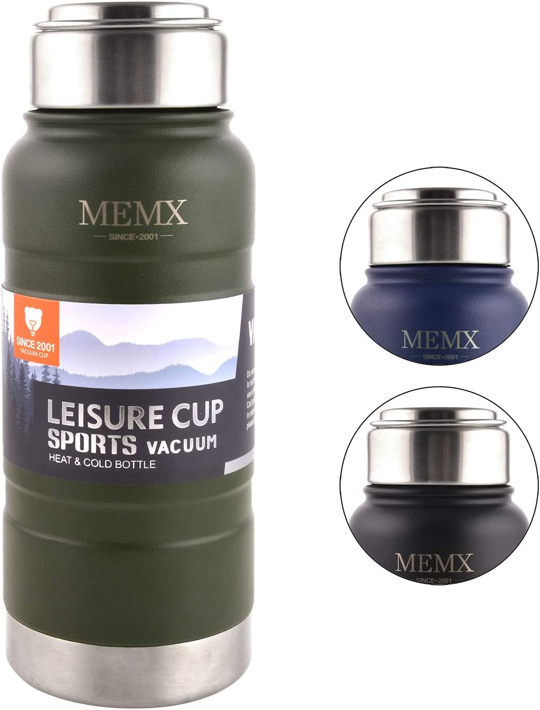MEMX Stainless Steel Vacuum Insulated Water Bottle, 17 Ounce Sports Thermos Flask, Built-in Filter Thermo Mug, Keeps Hot or Cold with Double Wall Insulated Sweat Proof Design, Green.