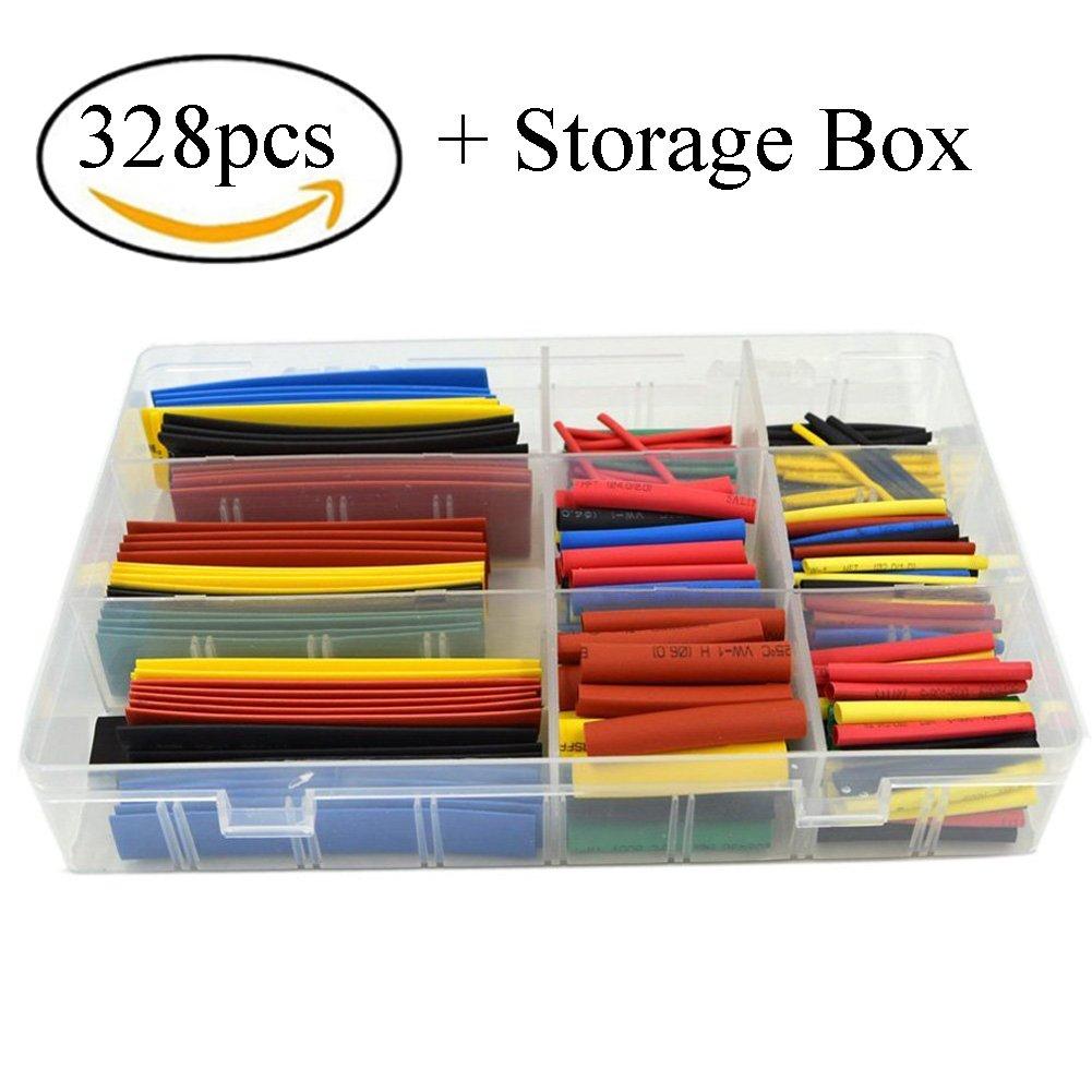 HiLetgo® 328pcs Heat Shrink Tubing 2:1Wire Cable Wrap Assortment Electric Insulation Tube Kit 5 Color 8 Size