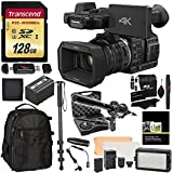 Panasonic HC-X1000 4K Ultra HD 60p/50p Professional Camcorder, 20x Optical Zoom w/ Transcend 128 GB U3 SD + Panasonic VW-VBD58 Battery + Polaroid Pro Video Microphone Set + LED Light + DLX Bp Bundle