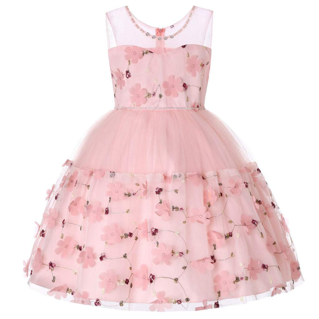 KIMODO Kleinkind Baby M/ädchen Kleid Spitze R/üschen Blumen Kleider /Ärmellos T/üll T/üt/ü Urlaub Formal Prinzessin Sommerkleid Outfit Kleidung