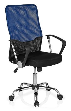 hjh OFFICE Foley Net Silla de Oficina, Tela, (Negro/Azul), 44x54x119 cm: Amazon.es: Hogar