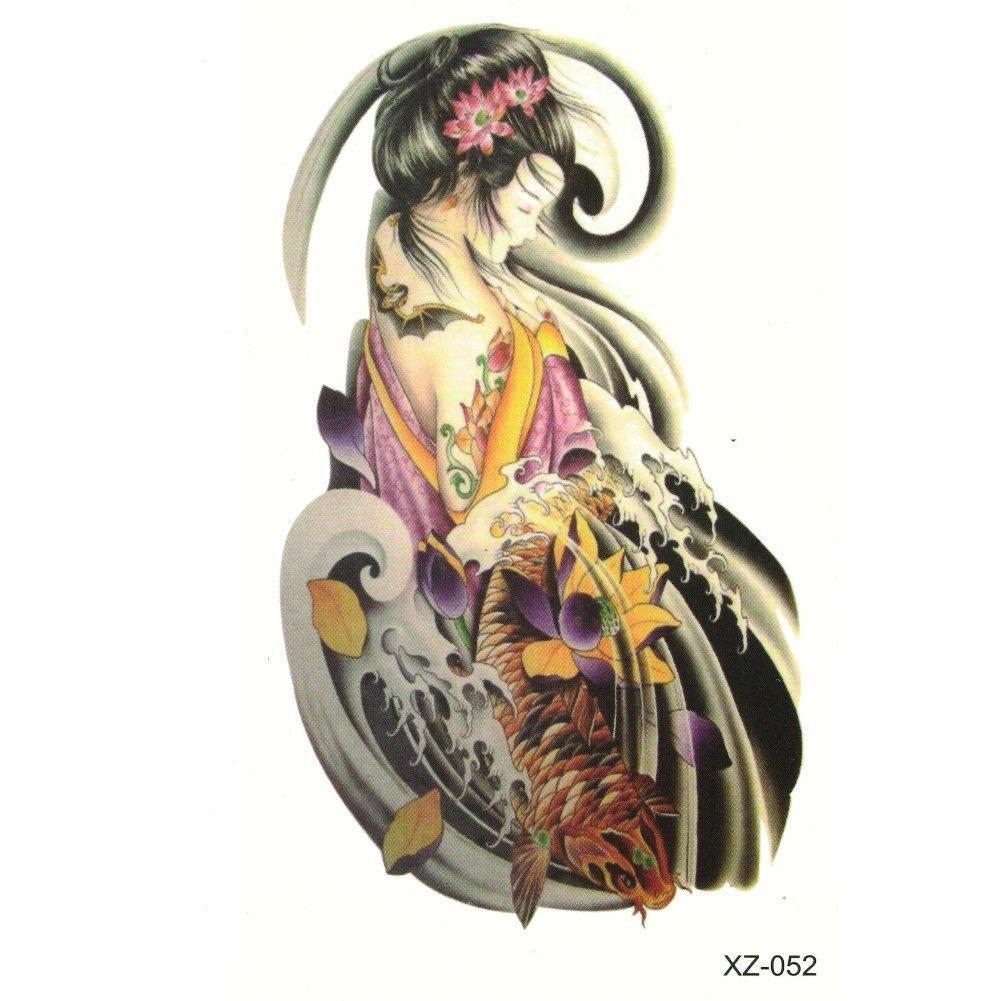 Just Fox – temporäres Tattoo Geisha de peces koi Lotus Diseño ...