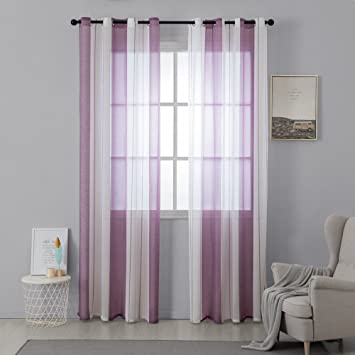 MIULEE Voile Vorhang Transparente Gardine aus Voile mit Ösen Schlaufenschal  Ösenschals Transparent Fensterschal Wohnzimmer Schlafzimmer 2er Set 140 *  ...