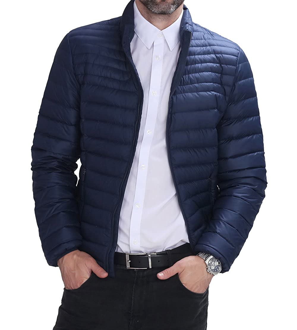 Hoffen Men's Slim Fit Light Weight Down Jacket Coat Navy (S) RW16-KUM413