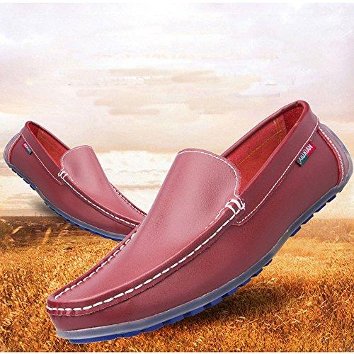 de Casual los de Hombres Rojo Mocasín clásicos de Zapatos Cuero conducción wY1InqwZX