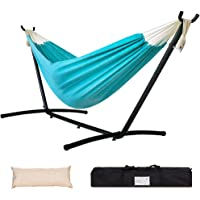 Lazy Daze Hammocks Double Hammock with 9FT Space Saving Steel Stand Includes Portable Carrying Case, 450 Pounds Capacity, Blue