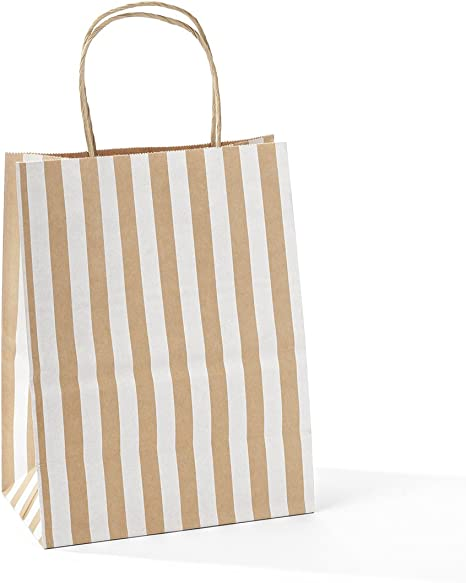 Party Shopping 8x4.75x10-50 Pcs Gift Bags by BagSource Black Kraft Paper Bags Mechandise