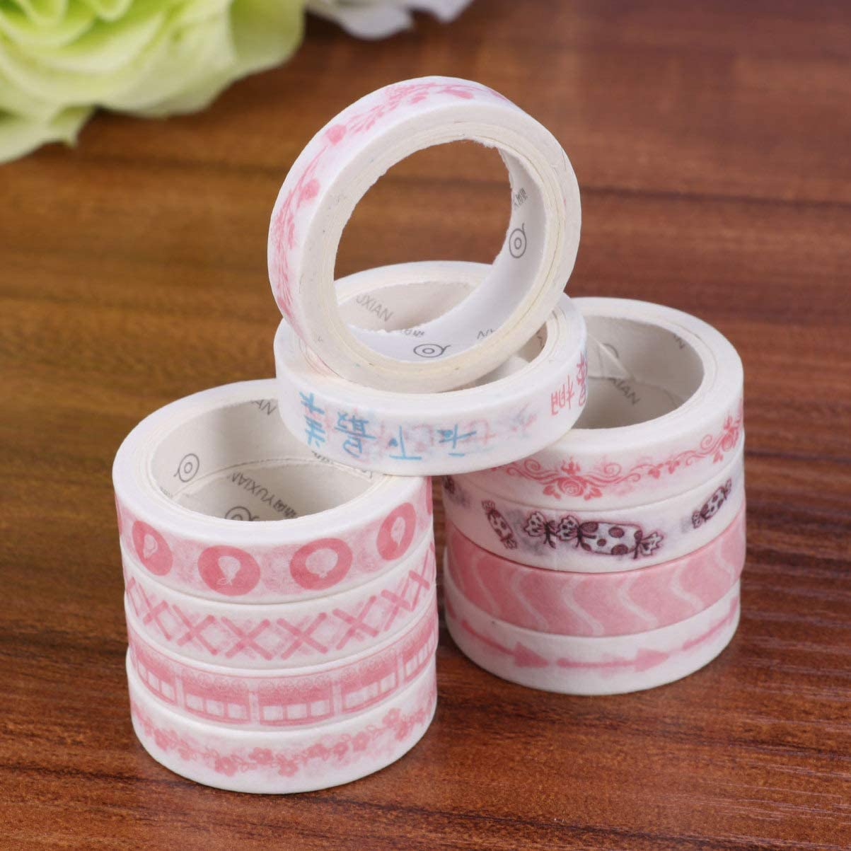 SUPVOX 10pcs Decorative Washi Tape Cartoon Colorful Washi Masking Tape DIY Sticky Paper Tapes Self Adhesive Paper Tape for DIY Scrapbook Notebook Decor Greenery