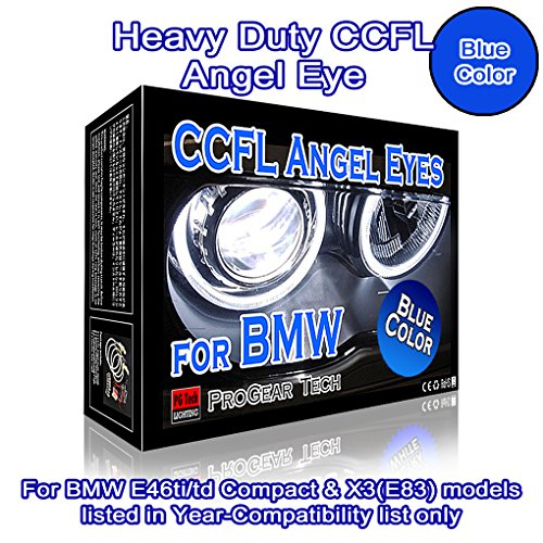 Heavy Duty CCFL Angel Eyes Halo Rings DRL 106 mm 131 mm E46 ti/td (01-05) Compact E83 X 3 (03-10) high low beam (30000K Blue)