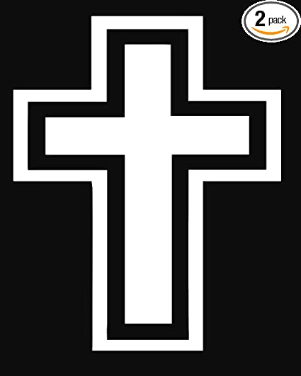 ANGDEST Cross with Outline (White) (Set of 2) Premium Waterproof Vinyl  Decal Stickers for Laptop Phone Accessory Helmet Car Window Bumper Mug  Tuber