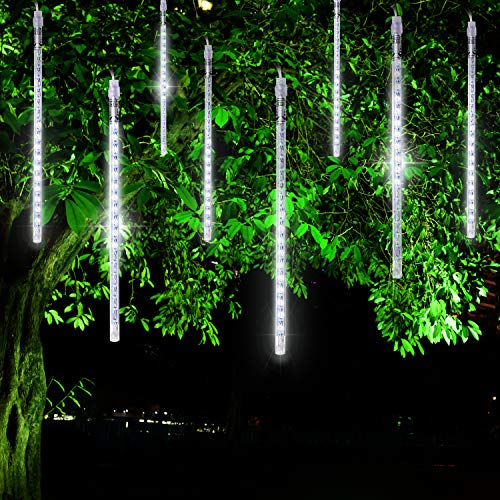 FYYZY Meteor Shower Rain Lights Christmas LED Decoration Falling Drop String Light Icicle 8 Tube (White, 30cm) ()