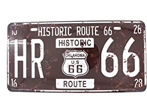 6x12 Inches Vintage Feel Metal Tin Sign Plaque for Home,Bathroom and Bar Wall Decor Car Vehicle License Plate Souvenir (Historic Route 66)
