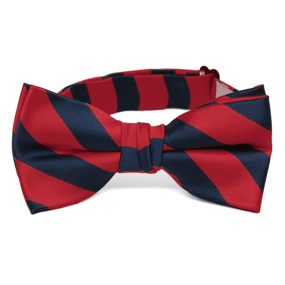 TieMart Boys' Red and Navy Blue Striped Bow Tie