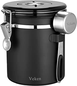 Veken Coffee Canister, Airtight Stainless Steel Kitchen Food Storage Container with Date Tracker and Scoop for Beans, Grounds, Tea, Flour, Cereal, Sugar,16OZ, Black