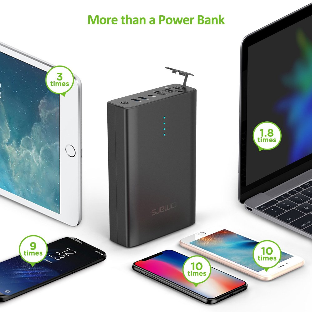 40200mAh AC Outlet Laptop Portable Battery Pack Travel Charger Output with Two USB Ports Omars AC Power Bank Laptops OMESS150WBK-US 90w Output 146Wh Universal Travel Charger Compatible with MacBook
