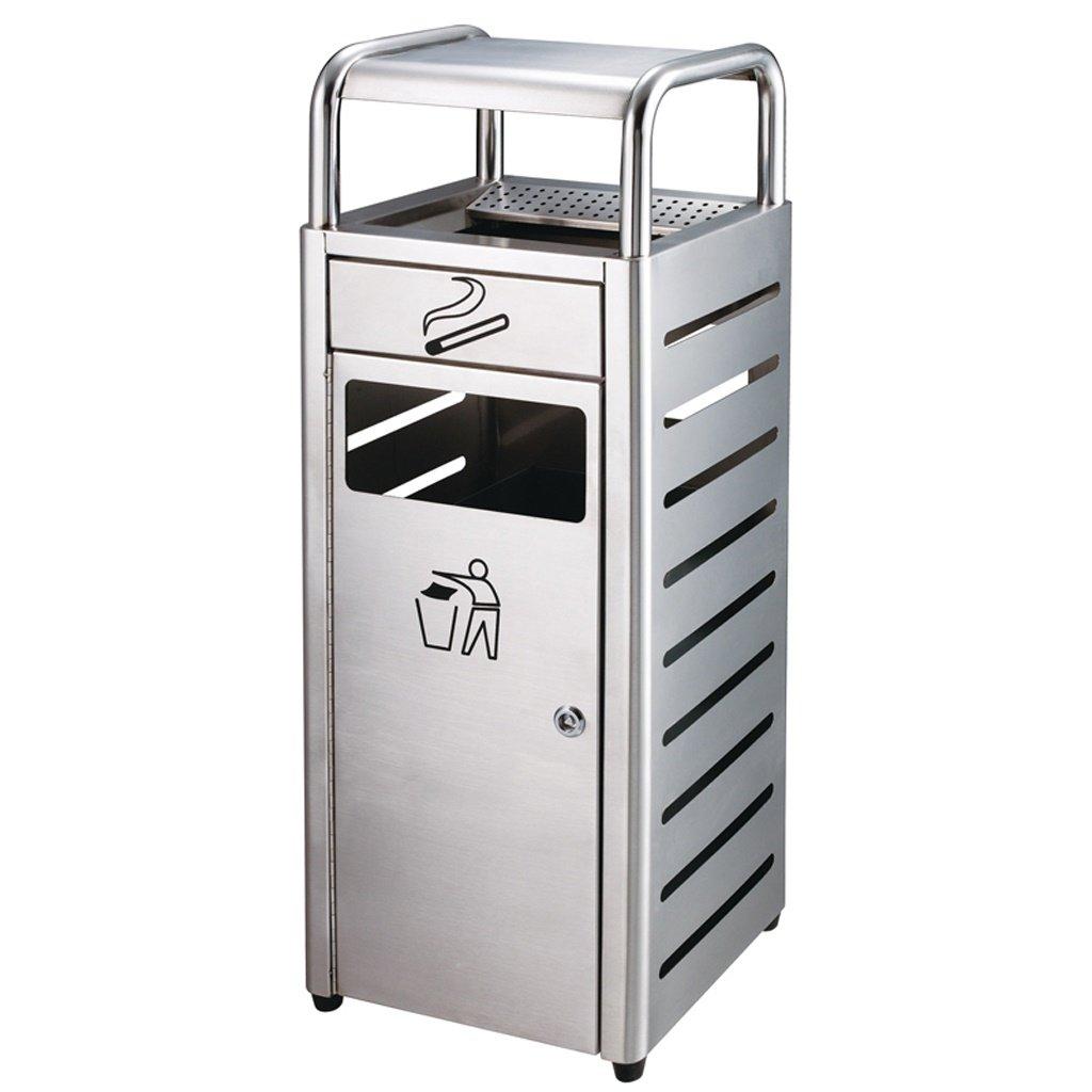 垃圾桶- ごみ箱は、ホテルのオフィスのための二重レザーの金属構造の金属廃棄物のビン10Lのゴミ容器のダストケース (色 : Sand steel)  Sand steel B07H3PY45G