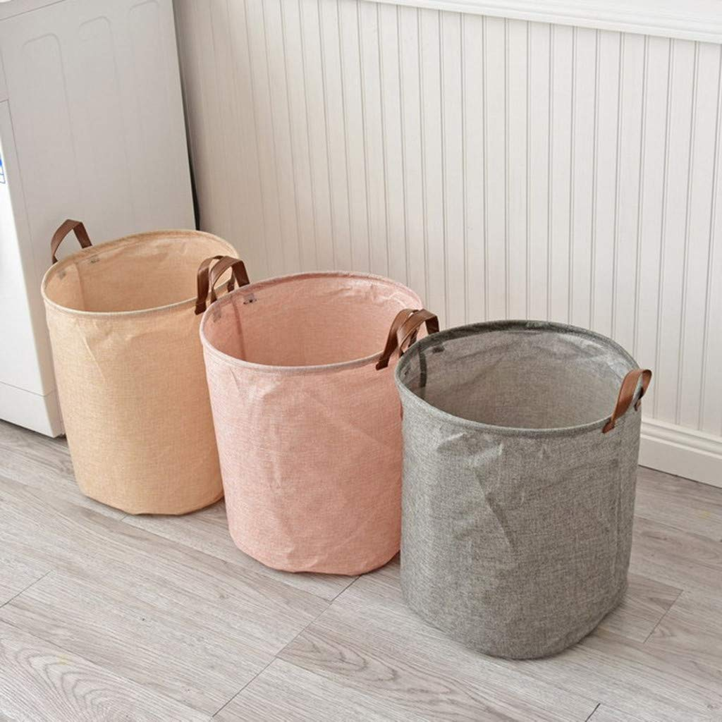 Clothes,Toys Office Bedroom Iuhan Waterproof Cotton Linen Coating Laundry Clothes Sundries Storage Basket Folding Storage Box for Kids Boys and Girls Khaki Storage Basket Bins with Handle