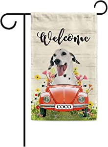 BAGEYOU Custom Name Welcome Spring Dog Garden Flag Dalmatian Dog Driving a Vintage Car Summer Flowers and Lawn Decor Home Banner for Outside 12.5x18 Inch Print Both Sides