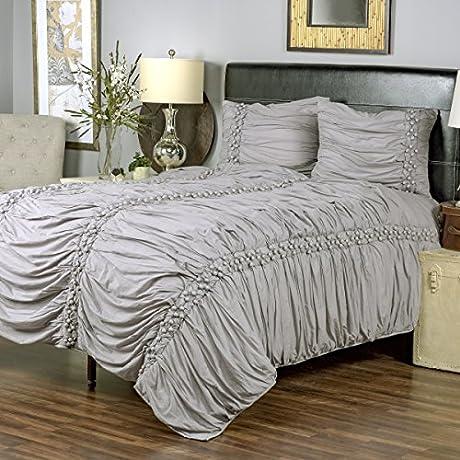 Arden Loft Thistle Terrace Collection Pomp Gray 3 Piece King Quilt Set