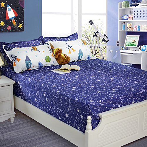 Brandream Boys Galaxy Space Bedding Kids Bedding Set Fitted Sheet 1-Piece Twin Size