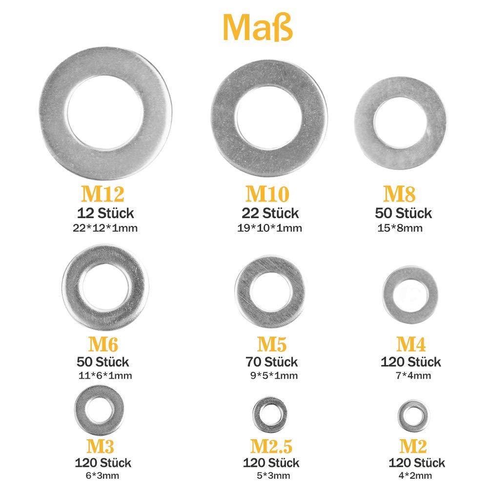 9/tama/ños M2/M2.5/M3/M4/M5/M6/M8/M10/M12/Acero Inoxidable Plano y surtido de arandelas de seguridad Set unidades con plano Caso Caja de almacenamiento 684st/ück plano arandelas