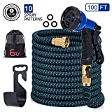 2019 Upgraded 100ft Garden Hose,Strongest Expandable Hose with Double Latex Core,Durable Flexible Water