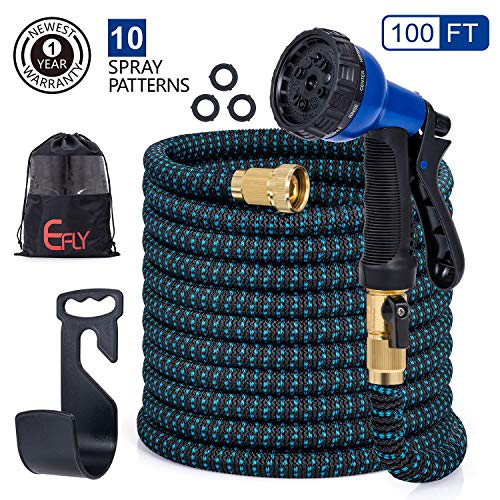 Efly 2019 New Expandable Garden Hose 100 FT, Water Hose with Double Latex Core/Durable/Flexible/No-Kink/Lightweight/10 Function Spray Hose Nozzle & Bag & Plastic Holder (Blue, 100) (Best Water Hose Holder)