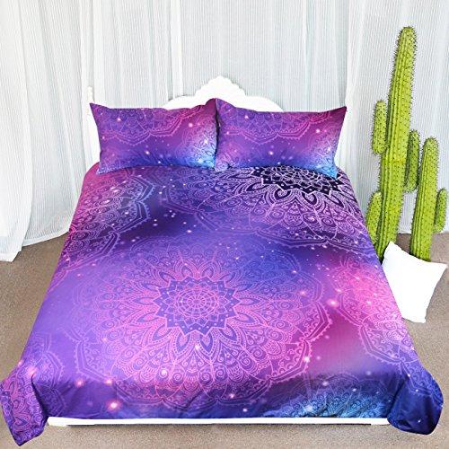 Arightex Iridescent Pink Purple Blue Mandala Duvet Cover 3 Pcs Bling Glitter Bedding Set Girly Duvet Cover (Full)