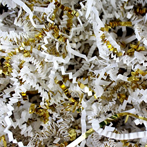 White Crinkle Cut Paper Metallic Mix - 1/2 Lb White and Gold Gift Basket Filling Christmas Shredded Paper