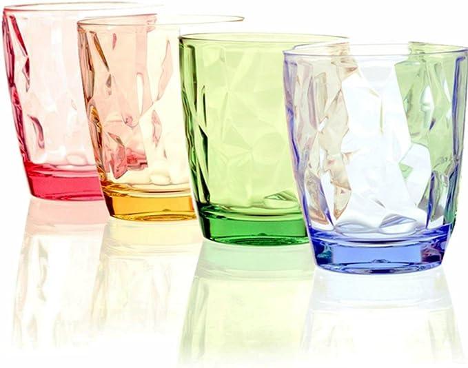 Vasos para beber 4 PACK-11OZ Restaurante de color acrílico Copas Party Bar Cerveza Jugo Irrompible Único Acampar Vaso de cumpleaños para té, café, whisky y leche ...