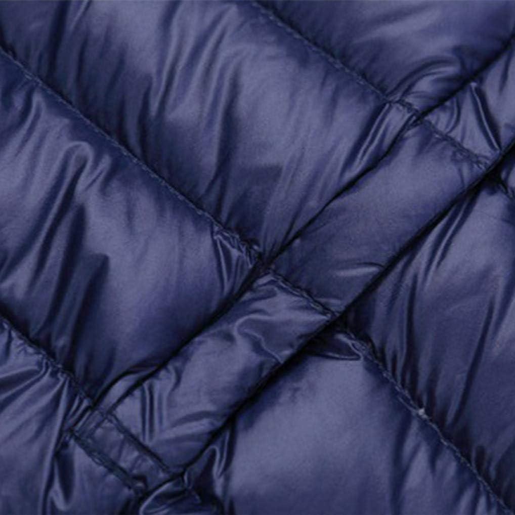 GOWINEU Piumino Invernale da Uomo Portatile Ultraleggero Casual con Collo Caldo Blu