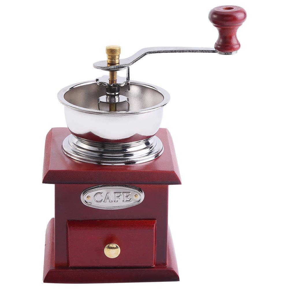 Manual Coffee Grinder, Retro Wood Hand Coffee Grinder Coffee Grain Burr Mill Machine with Catch Drawer(Coffee) Zerodis