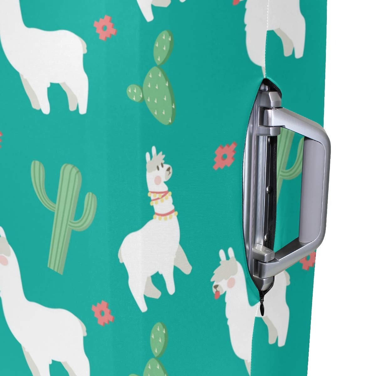 Baggage Covers White Alpaca Pattern Green Cactus Washable Protective Case