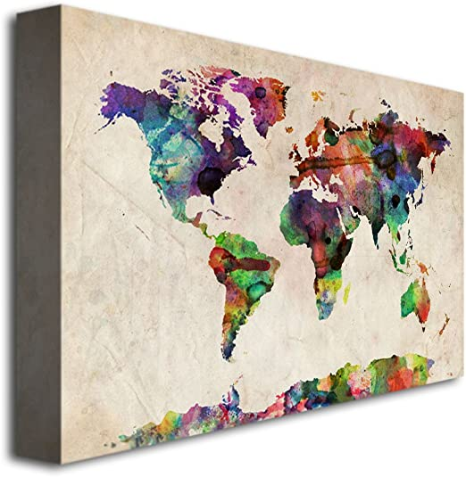 Amazon Com Urban Watercolor World Map Artwork By Michael Tompsett 18 By 24 Inch Canvas Wall Art Prints Posters Prints