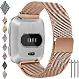 Fitbit Versa Band, Vancle Small Large Size Adjustable Replacement Watch Bands Metal Wristb
