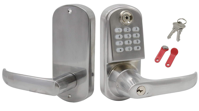 Entry Door Locks >> Electric Door Locks Smart Keyless Code Keypad Entry Door Push Button Lever Right Door Handed Unlock Via Tf Card Password And Keys Satin Nickel