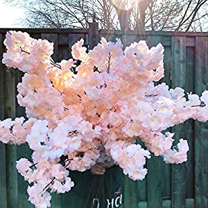 PARTY JOY 4Pcs Artificial Cherry Blossom Branches Flowers Stems Silk Tall Fake Flower Arrangements for Home Wedding Centerpieces Decoration,39 Inch 61