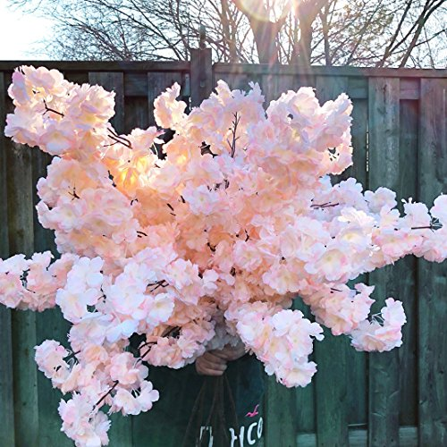 PARTY JOY 4Pcs Artificial Cherry Blossom Branches Flowers Stems Silk Tall Fake Flower Arrangements for Home Wedding Centerpieces Decoration,39 Inch (Champagne 4pcs) -