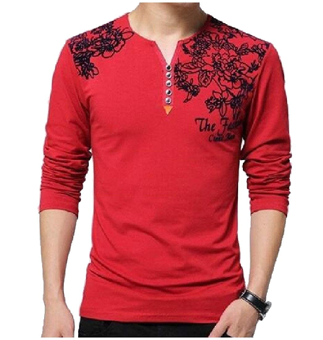 SayahMen Long-Sleeve Cotton Pullover Printed Notch Collar Tops T-Shirts
