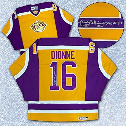 huge selection of 8c10b 5bf92 Marcel Dionne Los Angeles Kings Autographed Retro Yellow CCM ...