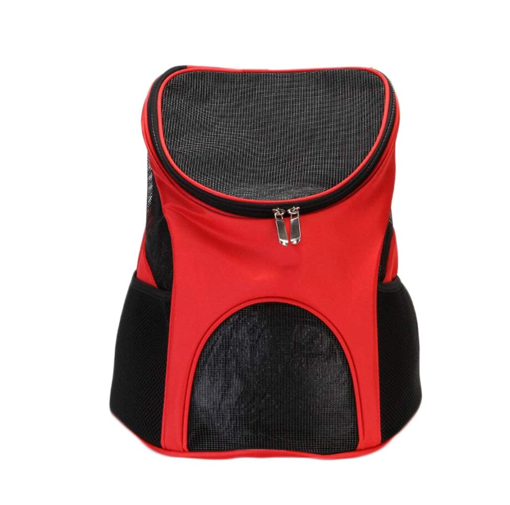 RED Pet Backpack Pet Outing Bag Portable Pet Bag Breathable Pet Backpack (color   RED)