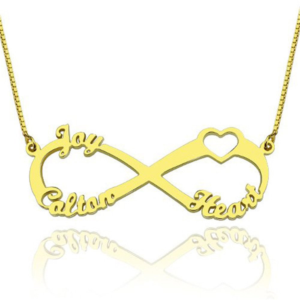 KIKISHOPQ Personality Customize Necklace Love Infinity Symbol Customize Names