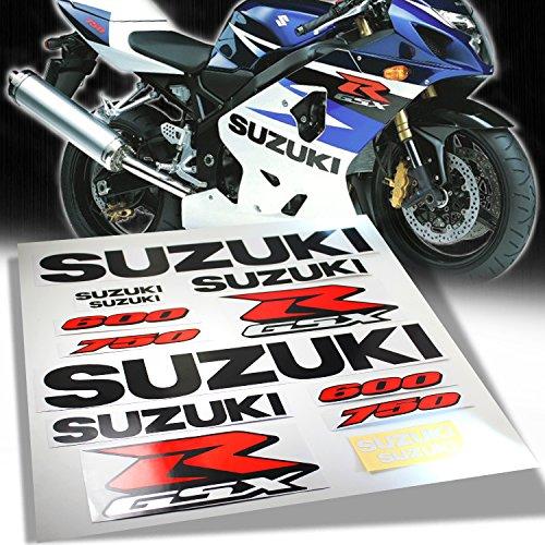 600 Stickers - 12pcs Sticker & Emblem Decal Fairing/Fender Sticker Kit for 04-17 Suzuki GSXR 600/750 [Black/Red/Silver]