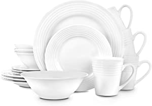 Stone lain Eddy Embossed Porcelain Round Dinnerware Set, 16 Pieces Service for 4, White