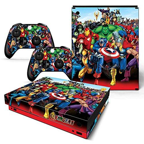 FriendlyTomato Xbox One X Console and Wireless Controller Skin Set - Super Hero - XboxOne X XOX Sticker Vinyl (Xbox Avenger Controller)
