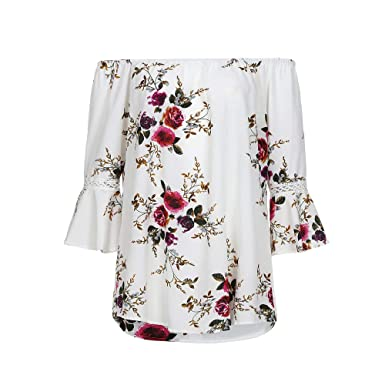 bacdbf15ac9 Lmtime Women Blouse Plus Size Women Floral Print Lace Off Shoulder Flare  Sleeve T-Shirt Tops Blouse at Amazon Women s Clothing store